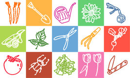 Gardening. Vector hand-drawn color icons Stock Photo