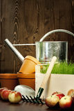Gardening. Watering can with grass, flower-pot and garden tools Stock Images