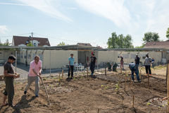 Gardening activities in a German refugee camp Royalty Free Stock Images