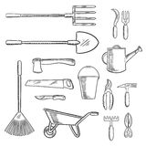 Gardening and agricultural tools icons Royalty Free Stock Images