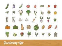 Gardening app icons set Stock Photo