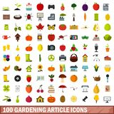 100 gardening article icons set, flat style. 100 gardening article icons set in flat style for any design vector illustration stock illustration