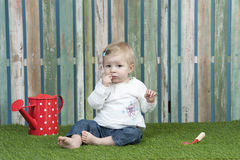 Gardening baby girl Royalty Free Stock Photography