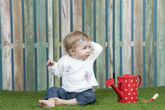 Gardening baby girl Stock Photo