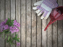 Gardening Background with Flowers, Gloves and Watering Can. Table with gardening gloves, watering can and lilacs Stock Photo