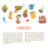 Gardening background items in cartoon style. Plants in pots, scissors, seeds, boots. Stock Image