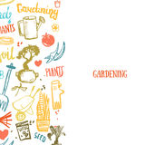 Gardening background items in cartoon style. Plants in pots, scissors, seeds, boots. Royalty Free Stock Images