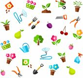Gardening background, white, color. Stock Images