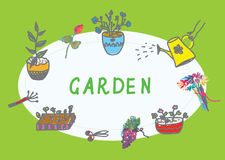 Gardening banner with flowers Stock Photo