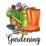 Gardening banner. Hand drawn gardening banner. Watering can, flowers in pots, garden tools and rubber boots in sketch style. Vector illustration stock illustration