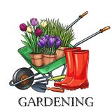 Gardening banner. Hand drawn gardening banner. Wheelbarrow, flowers, rubber boots and garden tools in a sketch style. Vector illustration royalty free illustration