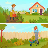 Gardening Banner Set stock illustration