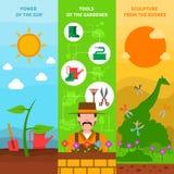 Gardening banner set Stock Images