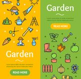 Gardening Banner Vecrtical Set. Vector Royalty Free Stock Image