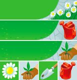 Gardening  banners and icons Stock Photography