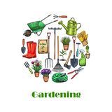 Gardening banners, sketch. Gardening banner. Garden tools and flowers vector illustration in sketch style. Rubber boots, seedling, tulips, gardening can and vector illustration