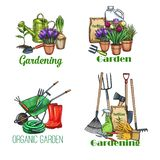 Gardening banners, sketch. Gardening banners. Garden tools, potted flowers and fertilizer, sketch style. Vector illustration stock illustration