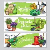 Gardening banners. Vector hand drawn gardening banners with tools, flowers, rubber boots, seedling, tulips, gardening can and cutter. Wheelbarrow and watering royalty free illustration