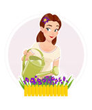 Gardening beautiful girl watering flower Royalty Free Stock Photos
