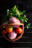 Basket of vegetables. Gardening is the best way to pick some tasty vegetables. Tomatoes are ready to be cooked. Bon appetit royalty free stock images