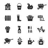Gardening Black Icons Set Stock Photos
