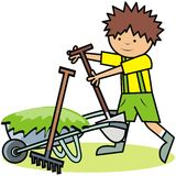 Gardening, boy and gardening tools. Vector icon royalty free illustration