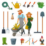 Gardening Cartoon Icon Set stock illustration