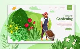Gardening cartoon landing page vector illustration