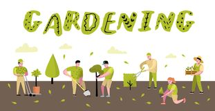 Free Gardening Cartoons Poster. Funny Simple Characters With Plants And Trees. Man And Woman Gardener Stock Photos - 122364683