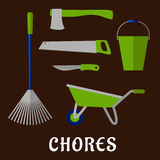 Gardening chores and tools flat icons Royalty Free Stock Images