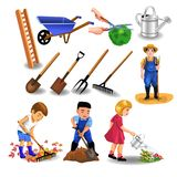Gardening cliparts, like tools and people working. Vector collection of gardening icons and clip arts, tools and people working isolated on a white background Stock Photos