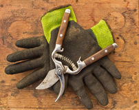 Gardening Clippers and Gloves Stock Photography