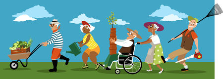 Gardening club. Diverse group of active senior citizens with gardening tools, pots, plants and produce, EPS 8 vector illustration, no transparencies Royalty Free Stock Photo