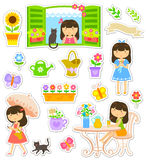 Gardening collection. Collection of icons and characters related to gardening and flowers Stock Photography