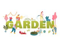 Free Gardening Concept. Gardeners Planting And Caring Of Trees And Plants Working In Summer Garden Watering Royalty Free Stock Image - 163647626