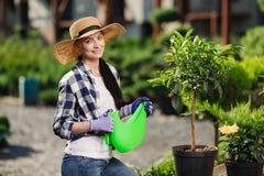 Gardening concept. Portrait of beautiful female gardener watering plants in the garden in hot summer day stock images