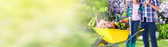 Gardening. Couple with gardening tools in summer garden. Flowers planting royalty free stock image