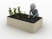 Gardening. 3D character gardening some plants Stock Photography