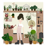 Gardening Decorations set with Girl flat Style vector / Illustration Royalty Free Stock Images