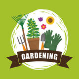 Gardening design  Botany icon. Flat illustration , vector Stock Images