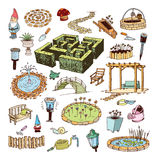 Gardening element decorations, illustration vector. Stock Photography