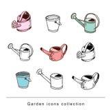 Gardening element tools, illustration vector. Royalty Free Stock Photo