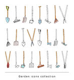 Gardening element tools, illustration vector. Stock Photography