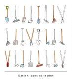 Gardening element tools, illustration vector. Stock Photography