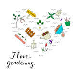 Gardening elements in the form of heart. I love gardening card. Vector line icons. Colorful spring blooming garden Royalty Free Stock Image
