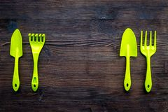 Gardening equipment concept on dark wooden background top view copy space Royalty Free Stock Photos