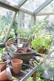 Gardening Equipment In Greenhouse Stock Photo