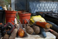Gardening equipment tools Royalty Free Stock Photos