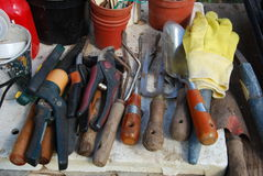 Gardening equipment tools Stock Photo