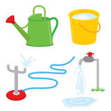 Gardening equipment watering can faucet water sprinkle vector. Design Royalty Free Stock Images